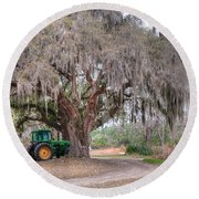 Coosaw Cross Roads With Live Oak Round Beach Towel