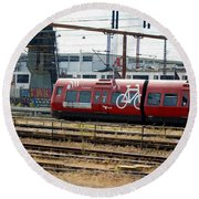 Copenhagen Commuter Train Round Beach Towel