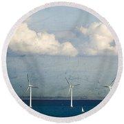 Copenhagen Wind Turbines Round Beach Towel