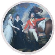 Copley's Colonel William Fitch And His Sisters Sarah And Ann Fitch Round Beach Towel