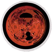 Copper Disk Abstract Round Beach Towel