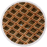 Copper Electron Micrograph Grid Round Beach Towel