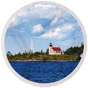 Copper Harbor Lighthouse Round Beach Towel