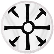 Coptic Cross Round Beach Towel