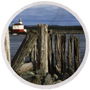 Coquille Lighthouse Oregon 3 Round Beach Towel
