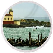 Coquille River Lighthouse And Birds Round Beach Towel