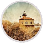 Coquille River Lighthouse - Texture Round Beach Towel