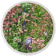 Coral Bells And Irises Round Beach Towel