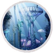 Coral City   Round Beach Towel