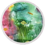 Coral Fishies Round Beach Towel
