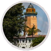 Coral Gables House And Water Tower Round Beach Towel