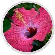 Coral Hibiscus Round Beach Towel