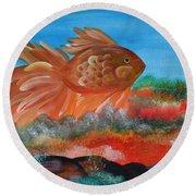 Coral Land Goldfish Round Beach Towel