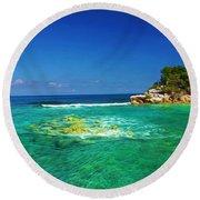 Coral Seas Haiti Round Beach Towel