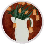 Coral Tulips In A Milk Pitcher Round Beach Towel