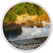 Coralville Dam At Capacity Round Beach Towel