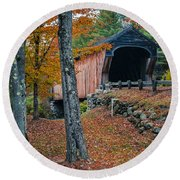 Corbin Covered Bridge Newport New Hampshire Round Beach Towel by Edward Fielding