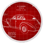 Cord Automobile Patent 1934 - Red Round Beach Towel