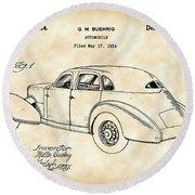 Cord Automobile Patent 1934 - Vintage Round Beach Towel