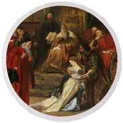 Cordelia In The Court Of King Lear, 1873 Round Beach Towel