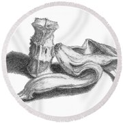 Core And Skin Sketch Round Beach Towel