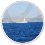 Corfu Channel Lighthouse Round Beach Towel