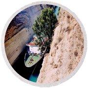 Corinth Canal Greece Round Beach Towel