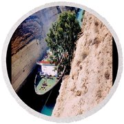 Corinth Canal Poster Round Beach Towel