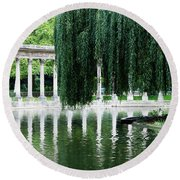 Corinthian Colonnade And Pond Round Beach Towel