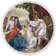 Coriolanus And His Mother Volumnia Round Beach Towel