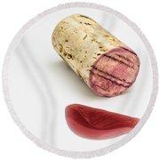 Cork With Red Wine Round Beach Towel