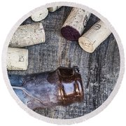 Corks With Bottle Round Beach Towel