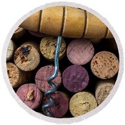 Corkscrew On Top Of Wine Corks Round Beach Towel by Garry Gay