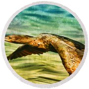 Cormorant On The Move Round Beach Towel