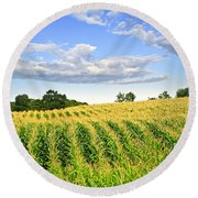 Corn Field Round Beach Towel by Elena Elisseeva