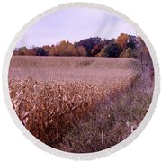Corn Field In The Fall Round Beach Towel