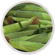Corn New Jersey Grown  Round Beach Towel