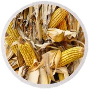 Corn Shock - Sign Of Autumn Round Beach Towel