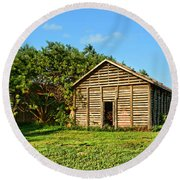 Corncrib In Afternoon Light Round Beach Towel