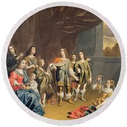 Cornelia And Her Jewels Oil On Canvas Round Beach Towel