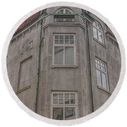 Corner Building Helsingborg 02 Round Beach Towel