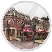 Corner Cafe Main Street Disneyland 02 Round Beach Towel