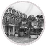 Corner Cafe Main Street Disneyland Bw Round Beach Towel