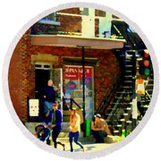 Corner Laurier Marche Maboule Depanneur Summer Stroll With Baby Carriage Montreal Street Scene Round Beach Towel