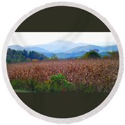 Cornfield In The Mountains Round Beach Towel