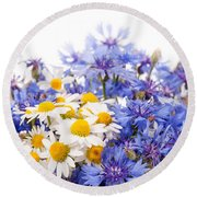 Cornflower And Chamomile Bunch Blooms  Round Beach Towel