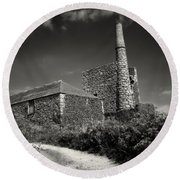 Cornish Tin Mine. Round Beach Towel