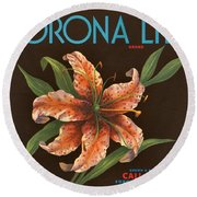 Corona Lily Crate Label Round Beach Towel