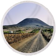 Corona Volcano On Lanzarote Round Beach Towel
