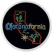 Coronafornia Round Beach Towel